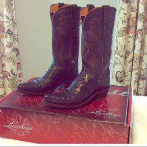 Lucchese black Ostrich Boots EUC